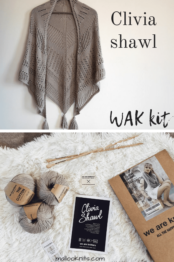 Intermediate knit kit for a marvellous shawl.