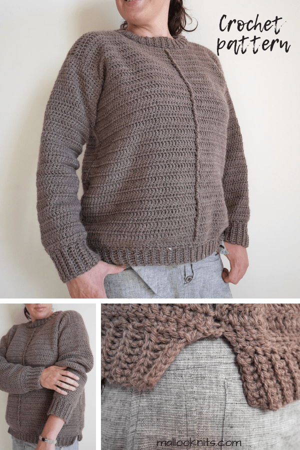 Crochet sweater pattern for the advanced beginner. Easy crochet sweater, extra cozy with a split hem and lots of ease.
