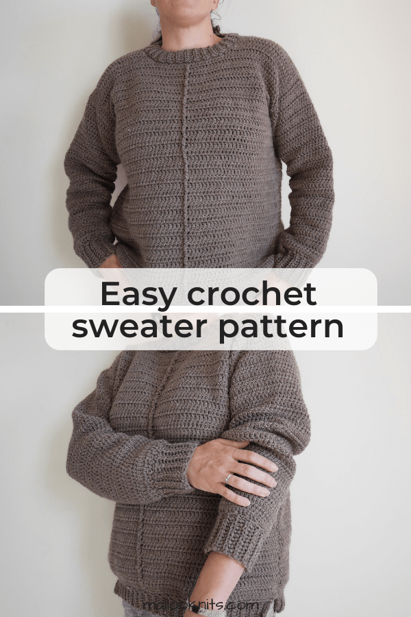 Easy crochet sweater pattern, very beginner friendly. Make this sweater with minimal shaping, just enough to flatter your silhouette. Made with positive ease this sweater is size inclusive, from XS to 5X. Just another mindless crochet project to satisfy your Netflix addiction. #crochetsweaterpattern #easycrochetsweater #beginnersweaterpattern #crochetpullover