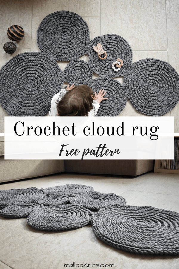 Crochet cloud rug free pattern. A great addition to any nursery, just place it in front of your baby's crib for sweet dreams! #crochetpattern #crochetcloudrug #freecrochetpattern #nursery decor