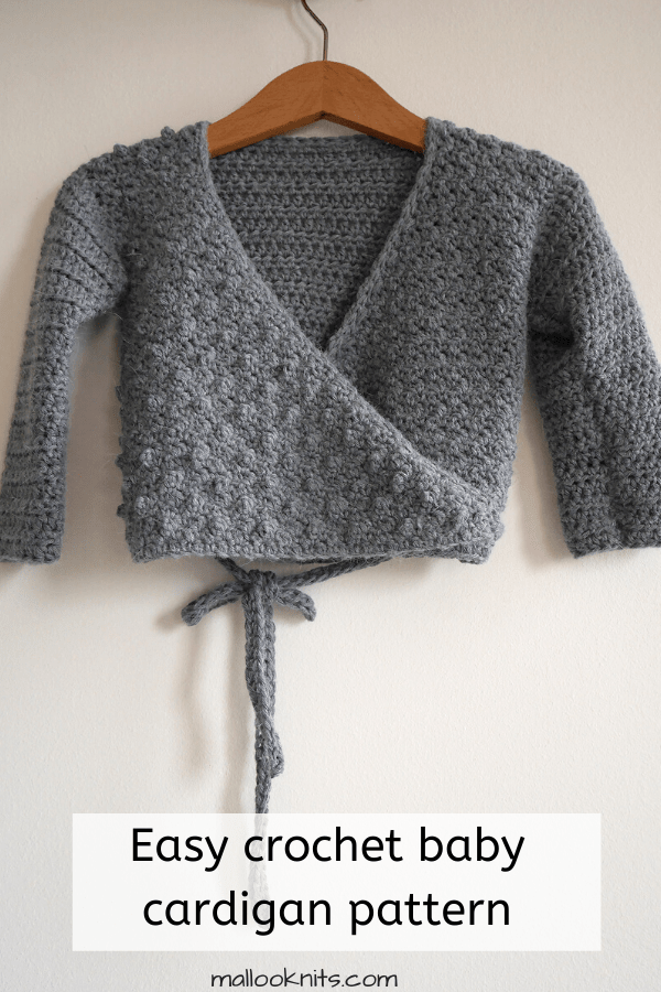 Easy crochet baby cardigan from 3-6 mo up to 3-4 years. Make a crochet sweater for your little one even if you are just a beginner. #crochetsweater #babycrochetsweater #crochetbabycardigan