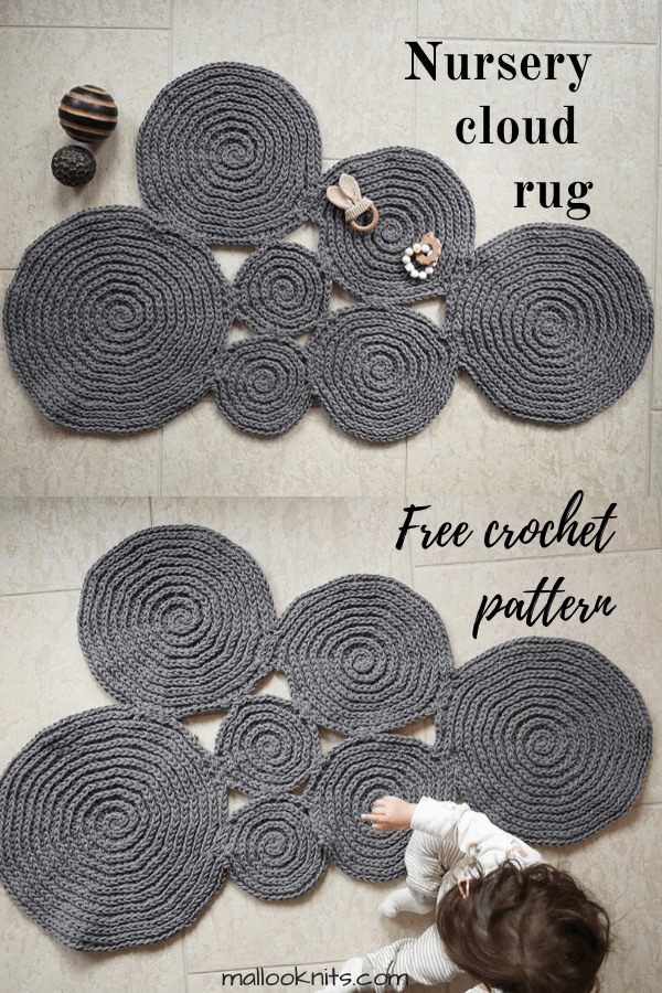 Get this free crochet cloud rug pattern and make a sweet addition to your nursery. #freecrochetpattern #freepattern #cloudrugpattern