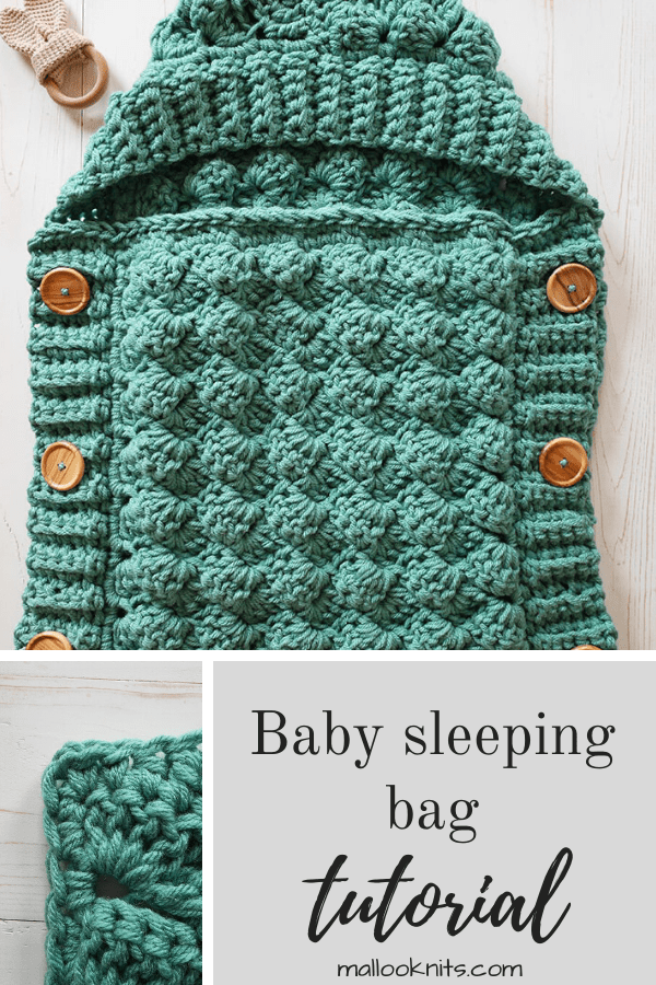 Easy, textured crochet sleeping bag pattern, perfect for the stroller.