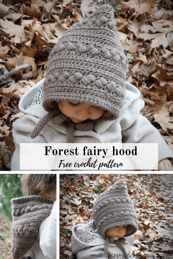 Unique and easy free crochet pixie hat pattern inspired by the magical creatures of the woods. Simple construction and lots of texture and your little one will look cute as a button. #crochetpixiehat #crochetpixiehood #crochetpixiehatpatternfree