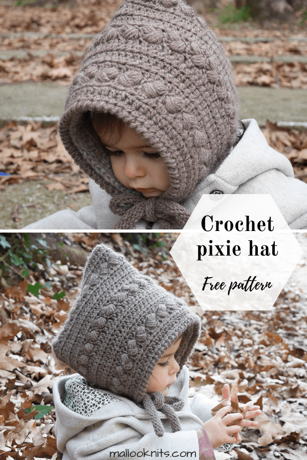 Crochet pixie hood free pattern. The Forest Fairy pixie hood is available in sizes newborn to child. Adorable crochet pixie hat for your little human. #crochetpixiehood #crochetpixiehatpattern #crochethatpatternfree #babyhat #crochetgirlshatpattern