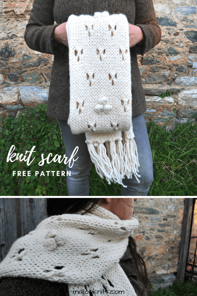 Learn how to knit lace with this easy knit scarf pattern. Chunky knitted scarf, great for advanced beginners as it uses only basic knitting stitches and yarn overs. #lacyknitscarf #knitscarfpattern #chunkyknitscarf