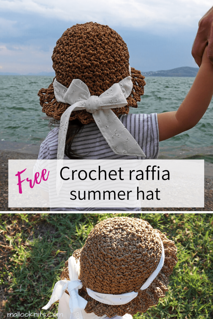 Free crochet summer hat made with raffia yarn. This crochet hat pattern comes in 3 sizes. Baby, toddler/child, teen/adult. Head measurements are provided in the pattern.