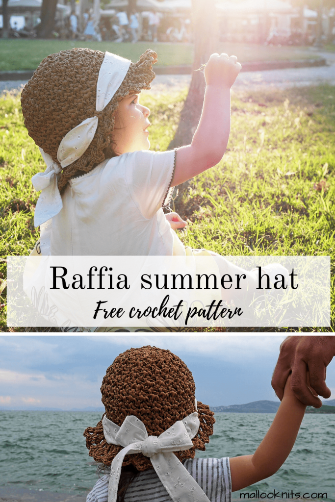 Crochet raffia summer hat free pattern. This stylish crochet hat comes in 3 sizes, baby, child and adult. You can add a ribbon at the end for a more feminine look, or not. It's up to you!