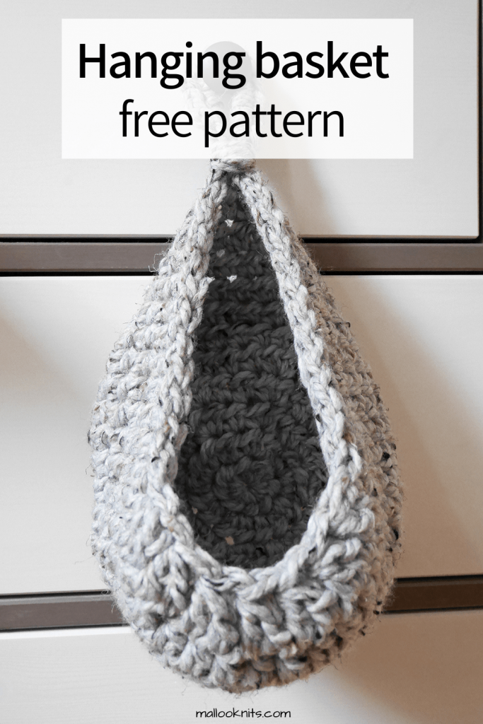 Easy and quick free crochet hanging basket pattern. This small crochet basket will hold all your knick-knacks for you. #freecrochetpattern #crochethangingbasket #crochetbasket #doorknobbasket