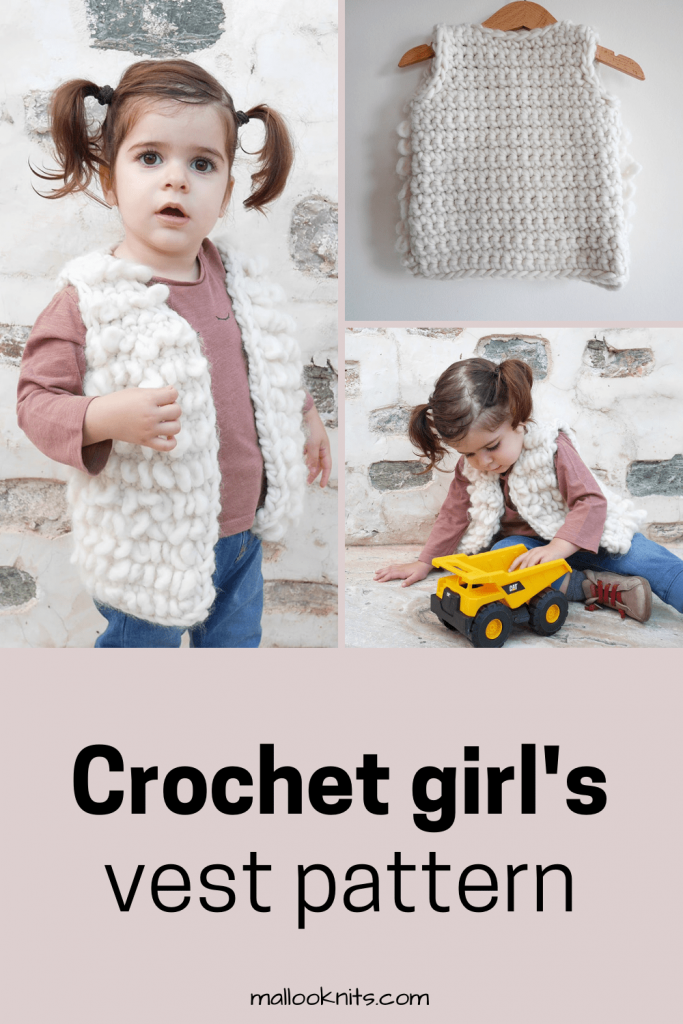 Adorable crochet vest pattern for children 1-12 years of age. Easy and quick project with awesome texture. #crochetpattern #crochetcardigan #crochetvestpattern #crochetforkids