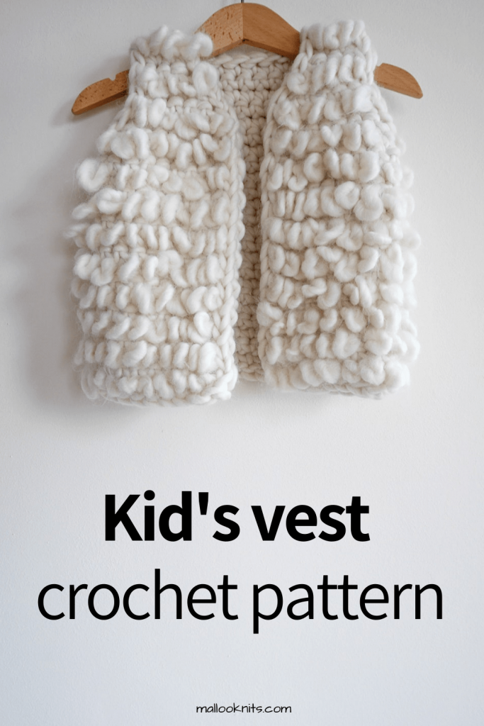 Crochet vest pattern for little girls. Using jumbo weight yarn, this is going to be one quick project to make. #crochetpattern #crochetvestpattern #crochetcardigan