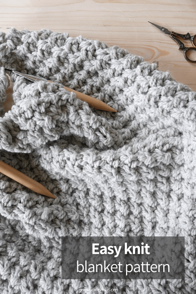 Beginner friendly chunky knit blanket pattern. Easy knit-and-chill project for all levels of knitters. #easyknittingpattern #chunkyblanket #chunkyknit #easyknitblanket