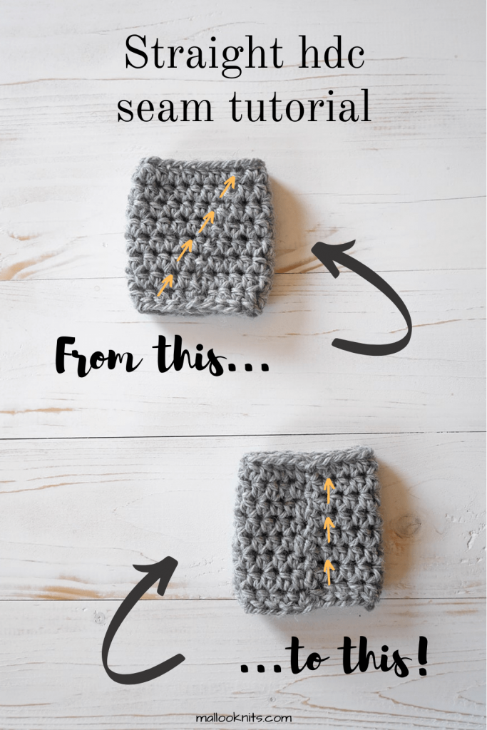 Is your hdc seam annoyingly slanting to the right when you are working in rounds? Learn how to crochet a straight hdc seam with a few simple tricks. Photo and video tutorial included. #crochetstraightseam #straighthdcseam #crochethattutorial