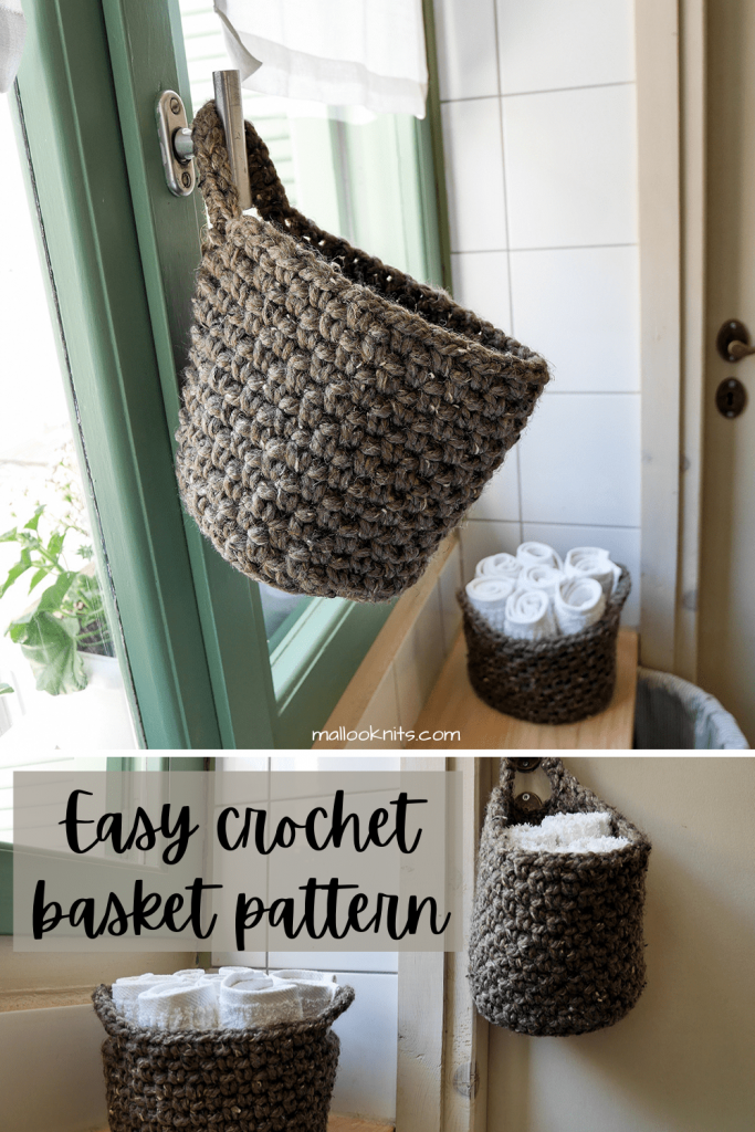 Easy crochet baskets pattern, ideal for beginners. You will need chunky yarn and a couple of hours to make them both!