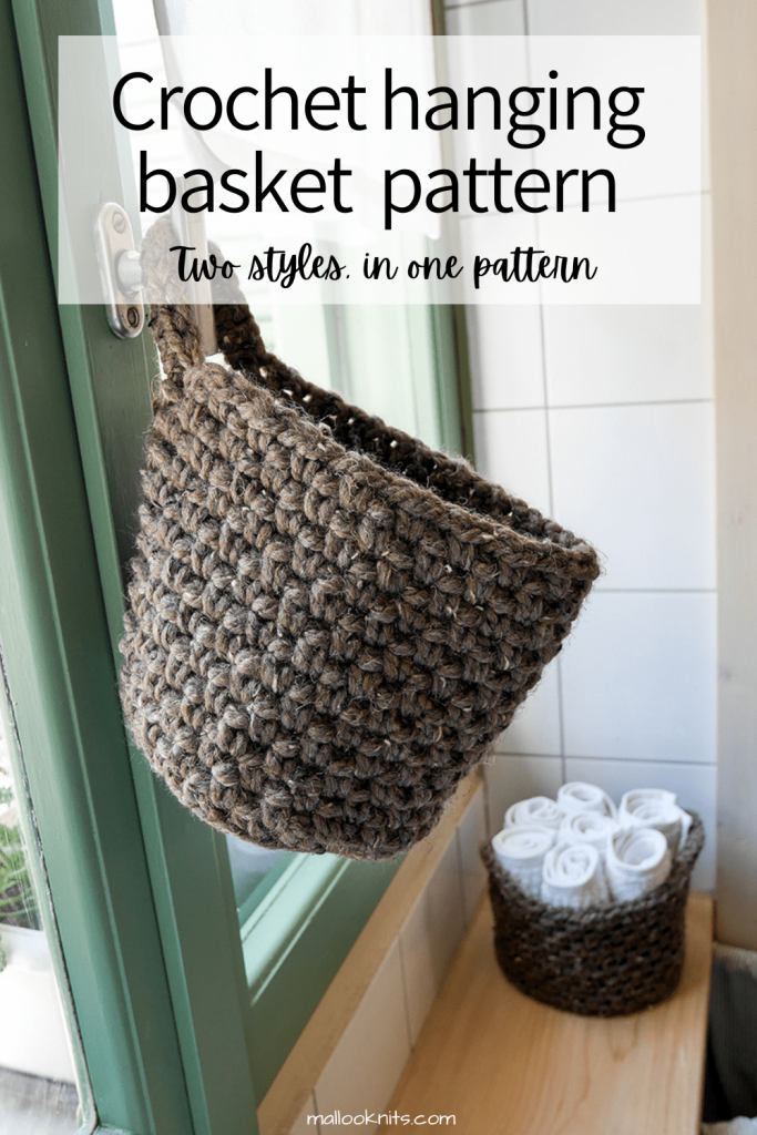 Easy crochet hanging basket pattern. The crochet pattern includes two different styles. A hanging basket with one handle and a crochet basket with two handles