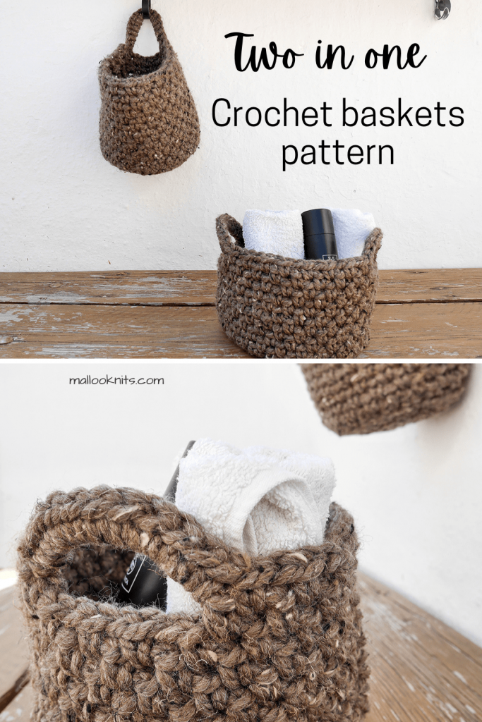 Easy crochet basket pattern. You get two different styles in one pdf. Easy and quick crochet pattern that uses chunky yarn and a large crochet hook.
