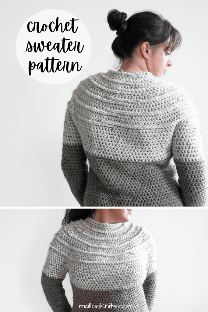 Padrão de suéter jugo de crochê sem costura com fios grossos, ótimo para interior ou exterior.  Suéter de crochê fácil, mesmo para iniciantes.