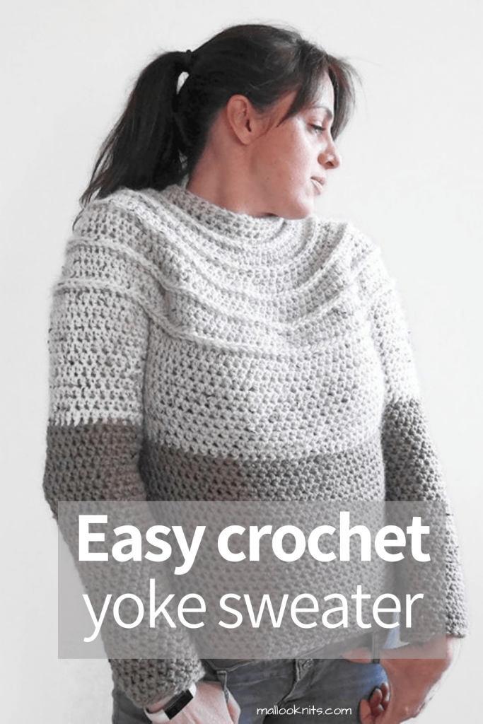 Easy crochet yoke sweater with chunky yarn. Make this totally seamless crochet sweater for cozy wear in or out of the house. #crochetyokesweater #crochetpattern #crochetsweaterpattern