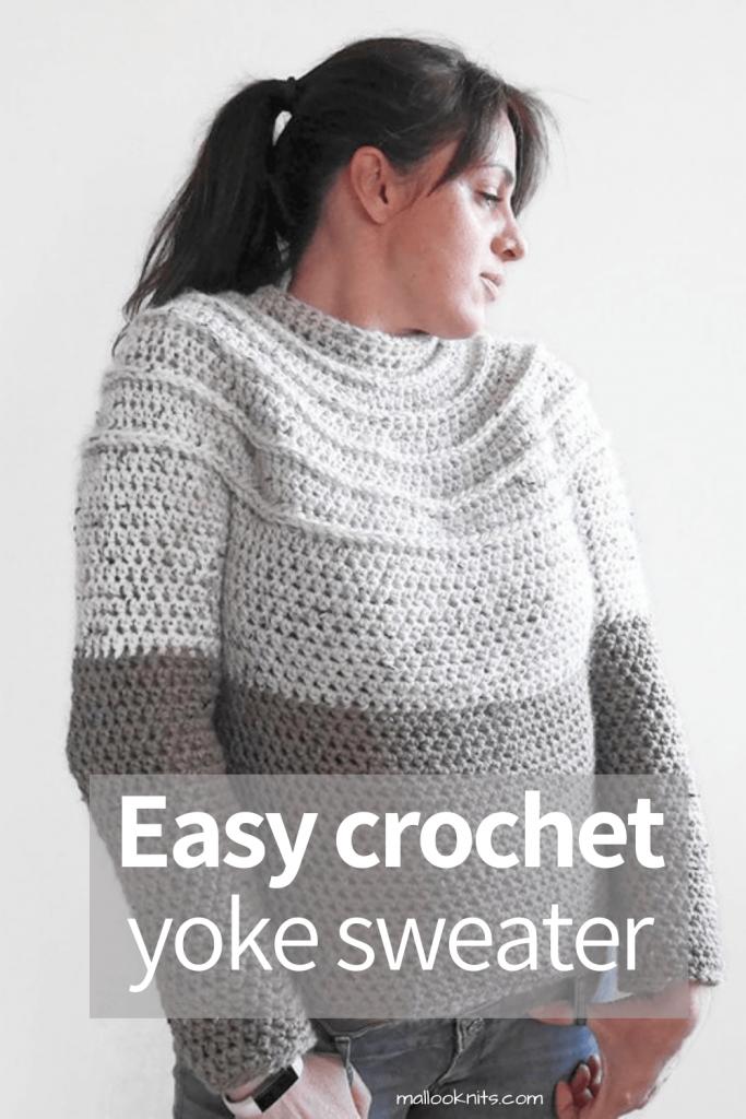 Suéter de crochê fácil com fio grosso.  Faça este suéter de crochê totalmente sem costura para uso confortável dentro ou fora de casa.  #crochetyokesweater #crochetpattern #crochetsweaterpattern