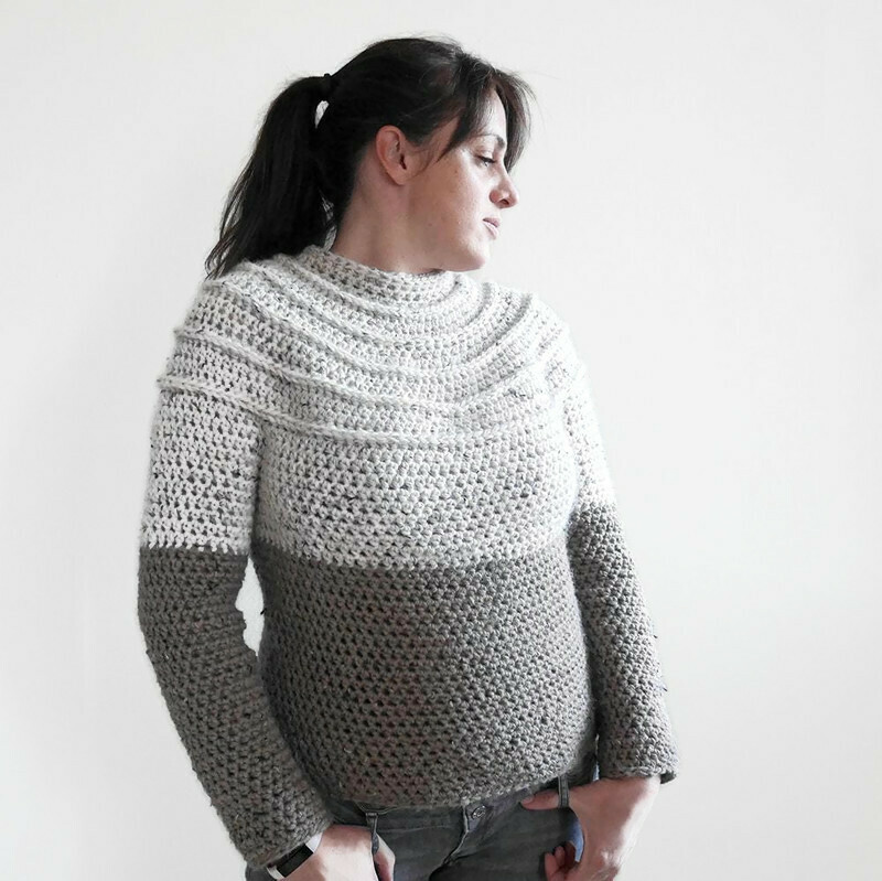Easy crochet yoke sweater pattern