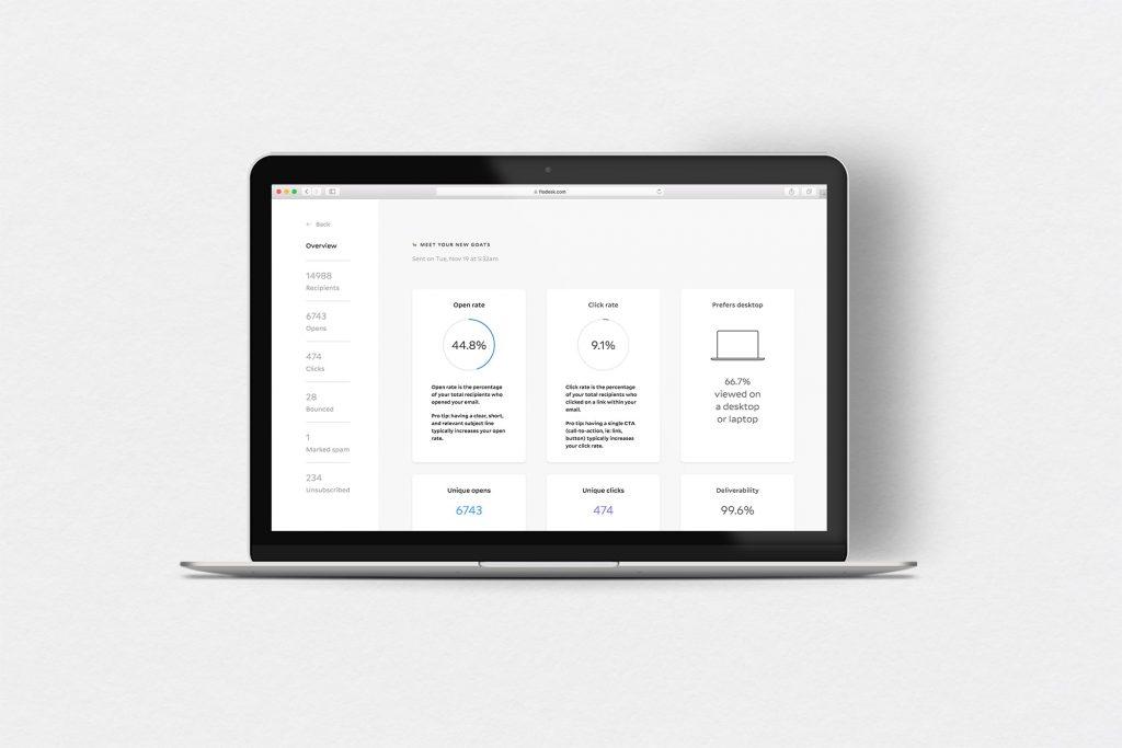 Mailchimp email marketing, flodesk analytics