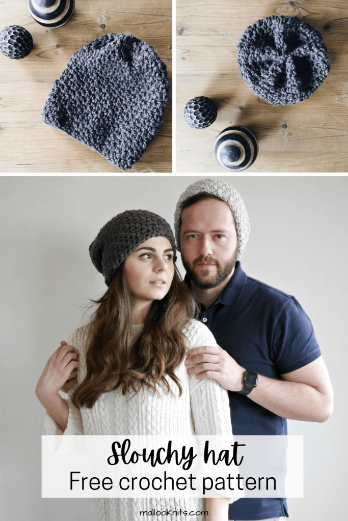 Free crochet slouchy hat pattern with no ribbing or shaping. That makes it ideal for beginners and seasoned crocheters that just want super fast and mindless project to work on. #howtocrochetahat #crochetslouchyhat #crochethatpattern #freecrochetpattern