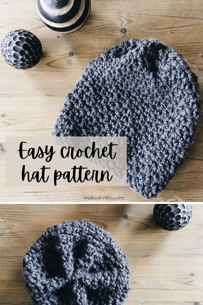 Padrão de chapéu desleixado de crochê grátis super simples e fácil.  Sem nervuras, sem modelagem, apenas textura!  #freecrochethatpattern #crochetslouchyhat #crochetpatternhat