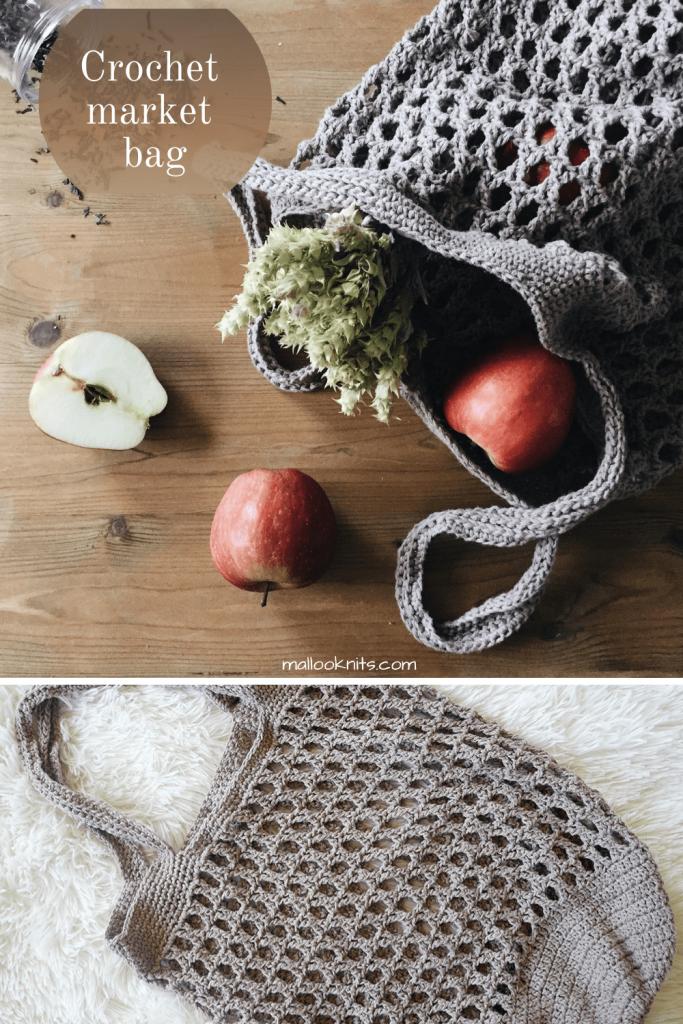 Padrão de bolsa de crochê grátis.  Usa um ponto de crochê vintage intrincado que é tão fácil de fazer, mesmo que pareça complicado.  Tutorial de foto e vídeo incluído no padrão.  #crochetmarketbag #crochetproducebag #freecrochetpattern #freecrochetmarketbagpattern
