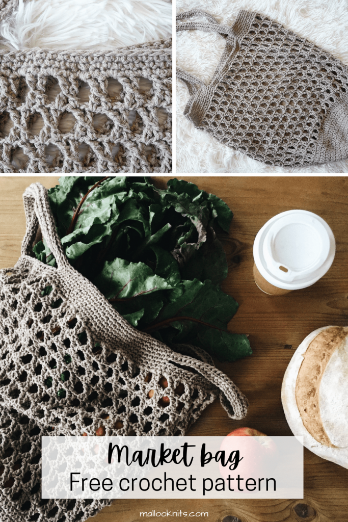 This easy crochet produce bag is one of the projects you are going to want to make time and time again. Spend a couple of hours to make this market bag and a lifetime of carrying it around. The free crochet pattern includes a photo and video tutorial on how to make this beautiful vintage stitch that is so rarely used. #crochetmarketbag #crochetproducebag #freecrochetpattern #phototutorial #videotutorial #beachbag