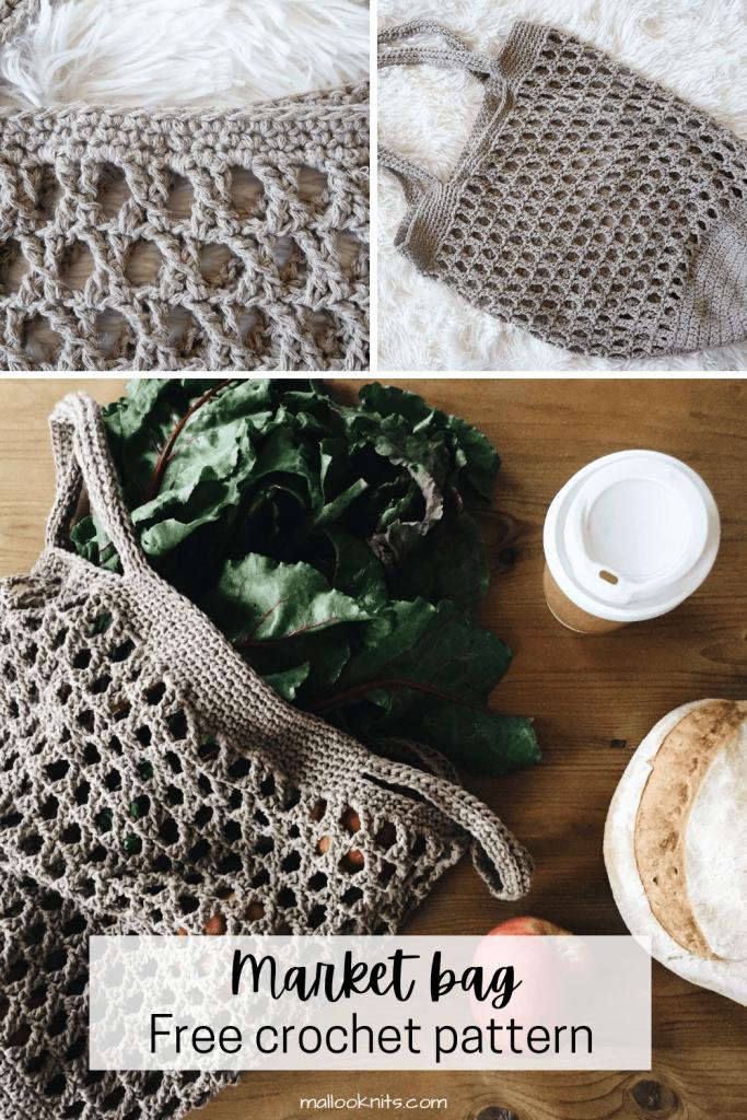 Esta bolsa de produtos de crochê fácil é um dos projetos que você vai querer fazer uma e outra vez.  Gaste algumas horas para fazer esta sacola de mercado e uma vida inteira para carregá-la.  O padrão de crochê gratuito inclui uma foto e um vídeo tutorial sobre como fazer este lindo ponto vintage que é raramente usado.  #crochetmarketbag #crochetproducebag #freecrochetpattern #phototutorial #videotutorial #beachbag